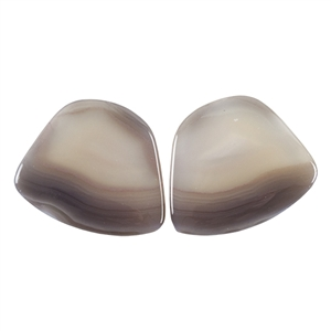 Natural Botswana Agate Gemstone - Cabochon Freeform 20mm x 24mm Matched Pair