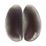 Botswana Agate Gemstone - Freeform Cabochon Pair 14mm x 29mm - Matched Pair