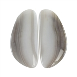 Botswana Agate Gemstone - Freeform Cabochon Pair 14mm x 30mm - Matched Pair