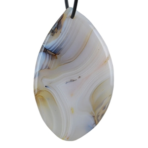 Botswana Agate Gemstone - Pear Freeform Pendant 35mm x 58mm - Pak of 1