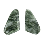 Natural Seraphinite Gemstone - Freeform Cabochon 8.5mm x 15mm - Matched Pair