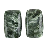 Natural Seraphinite Gemstone - Freeform Cabochon 12.5mm x 20mm - Matched Pair