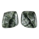 Natural Seraphinite Gemstone - Freeform Cabochon 13mm x 13.5mm - Matched Pair