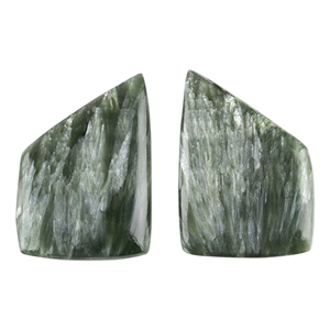 Natural Seraphinite Gemstone - Freeform Cabochon 14mm x 19mm - Matched Pair