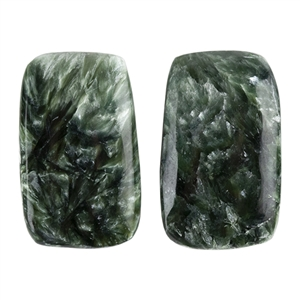 Natural Seraphinite Gemstone - Freeform Cabochon 13mm x 21.5mm - Matched Pair