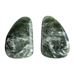Natural Seraphinite Gemstone - Freeform Cabochon 14.5mm x 21mm - Matched Pair