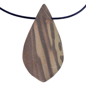 Natural Red Zebra Jasper Gemstone - Freeform Pendant 28mm x 52mm