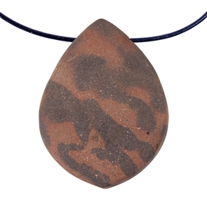 Natural Red Zebra Jasper Gemstone - Freeform Pendant 36mm x 48mm