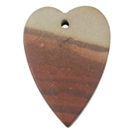 Natural Red Zebra Jasper Gemstone - Heart Pendant 29mm x 40mm