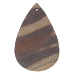 Natural Red Zebra Jasper Gemstone - Freeform Pendant 35mm x 54mm