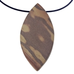 Natural Red Zebra Jasper Gemstone - Freeform Pendant 26mm x 52mm