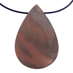 Natural Red Zebra Jasper Gemstone - Freeform Pendant 33mm x 49mm