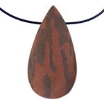 Natural Red Zebra Jasper Gemstone - Freeform Pendant 26mm x 49mm