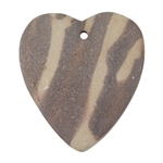 Natural Red Zebra Jasper Gemstone - Heart Pendant 37mm x 42mm