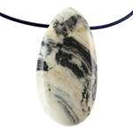 Natural Zebra Jasper Gemstone -  Freeform Pendant 27mm x 50mm - Pak of 1