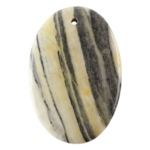 Black Zebra Jasper Gemstone -  Oval Pendant 34mm x 52mm