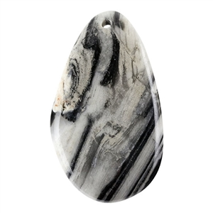 Black Zebra Jasper Gemstone -  Freeform Pendant 29mm x 50mm - Pkg of 1