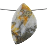 Pyrite in Quartz Gemstone - Freeform Pendant 31mm x 51mm - Pak of 1