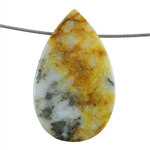 Pyrite in Quartz Gemstone - Pear Pendant 30mm x 50mm - Pak of 1