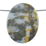 Pyrite in Quartz Gemstone - Oval Pendant 35mm x 44mm - Pak of 1