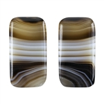 Natural Black & White Onyx Gemstone - Rectangle Cabochon 12.5mm x 24mm - Matched Pair
