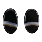 Natural Black & White Onyx Gemstone - Oval Cabochon 12.5mm x 21mm - Matched Pair