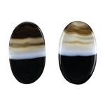 Natural Black & White Onyx Gemstone - Oval Cabochon 13mm x 22mm - Matched Pair