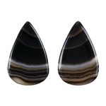 Natural Black & White Onyx Gemstone - Teardrop Cabochon 15.5mm x 24.5mm - Matched Pair