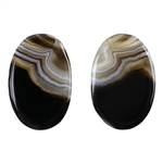 Natural Black & White Onyx Gemstone - Oval Cabochon 15.5mm x 23.5mm - Matched Pair