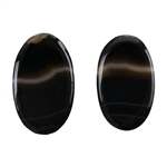 Natural Black & White Onyx Gemstone - Oval Cabochon 12.5mm x 20.5mm - Matched Pair