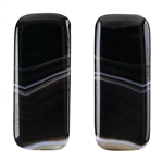 Natural Black & White Onyx Gemstone - Rectangle Cabochon 11.5mm x 27.5mm - Matched Pair