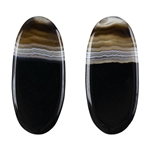 Natural Black & White Onyx Gemstone - Oval Cabochon 13.5mm x 30mm - Matched Pair