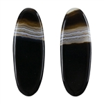 Natural Black & White Onyx Gemstone - Oval Cabochon 11.5mm x 32mm - Matched Pair