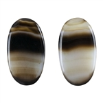 Natural Black & White Onyx Gemstone - Oval Cabochon 14mm x 25mm - Matched Pair