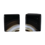Natural Black & White Onyx Gemstone - Rectangle Cabochon 12.5mm x 14mm - Matched Pair