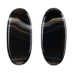 Natural Black & White Onyx Gemstone - Oval Cabochon 12mm x 27.5mm - Matched Pair