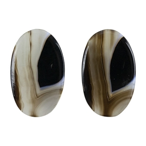 Natural Black & White Onyx Gemstone - Oval Cabochon 15mm x 24.5mm - Matched Pair