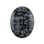 Natural Obsidian Snowflake Gemstone - Cabochon Oval 30x40mm - Pak of 1