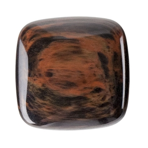 Natural Obsidian Mahogany Gemstone - Cabochon Square 20mm - Pak of 1