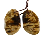 Natural Peanut Wood Gemstone - Pendant Freeform 20mm x 30mm - Matched Pair