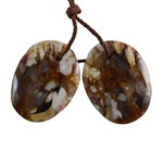 Natural Peanut Wood Gemstone - Pendant Freeform 16mm x 21mm - Matched Pair