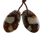 Peanut Wood Gemstone - Pendant Freeform 12mm x 20mm - Matched Pair