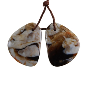 Peanut Wood Gemstone - Pendant Freeform 17mm x 23mm - Matched Pair
