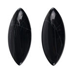 Spiderweb Obsidian Gemstone - Cabochon Marquise 15mm x 36mm - Matched Pair