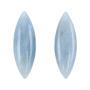 Aquamarine Gemstone - Cabochon Marquise 13mm x 40mm - Matched Pair