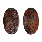 Crazy Lace Agate Gemstone - Oval Cabochon 12.5mm x 21mm - Matched Pair