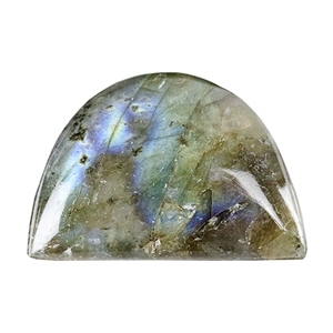 Natural Labradorite Gemstone - Cabochon Half Circle 15mm x 22mm Pkg - 1