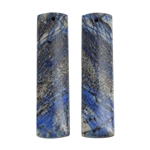 Natural Azurite Gemstone - Rectangle Pendants 11mm x 40mm - Matched Pair