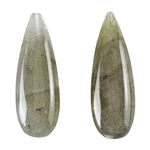 Labradorite Gemstone - Pear Top-drilled Pendants 10mm x 30mm - Matched Pair