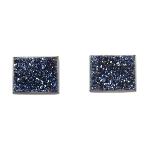 Brazilian Blue Druzy Gemstone Cabochons - Rectangle Matched Pair - Pkg/2